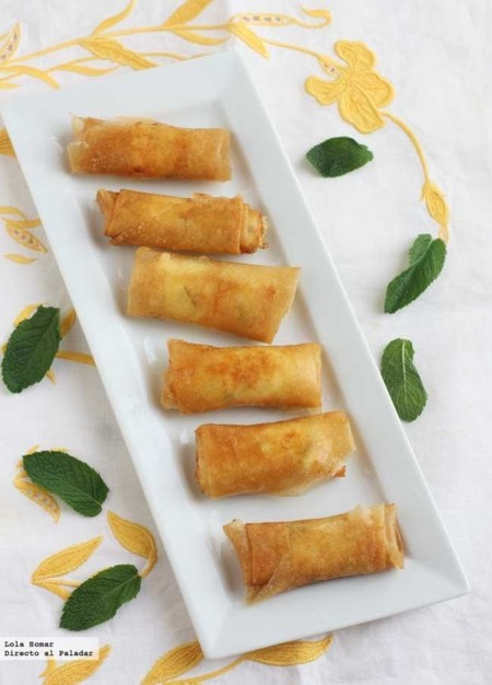 Rollitos de brick con queso feta