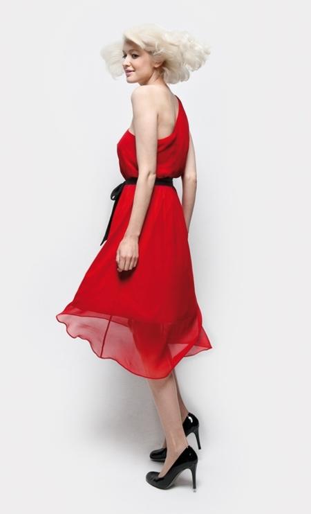 vestido rojo naf naf