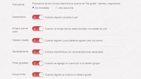 Opciones de notificación por correo en Pinterest