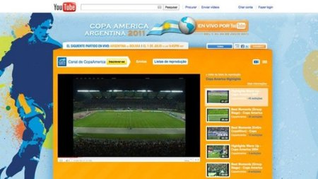 YouTube retransmitirá la Copa América 2011 en streaming directo