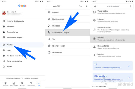 Asistente Google Rutina Dia Laborable