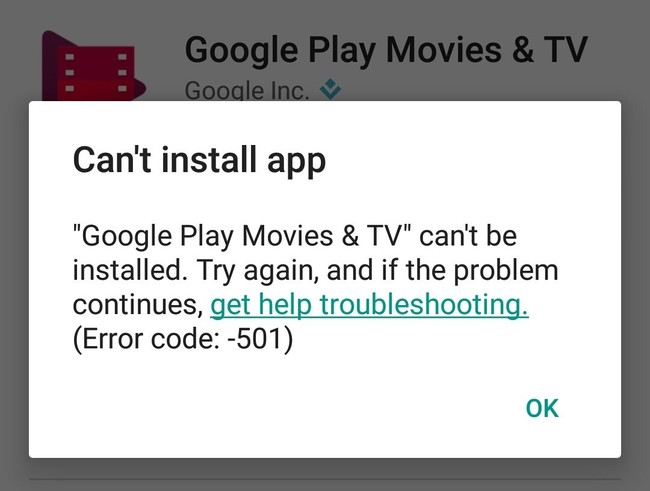 Cant Install Error 501