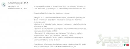 Se actualiza OS X Mavericks con distintas mejoras en la aplicación de correo
