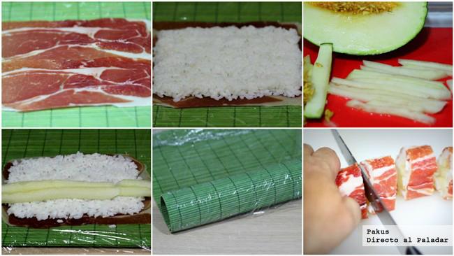 paso a paso de makis de melón con jamón