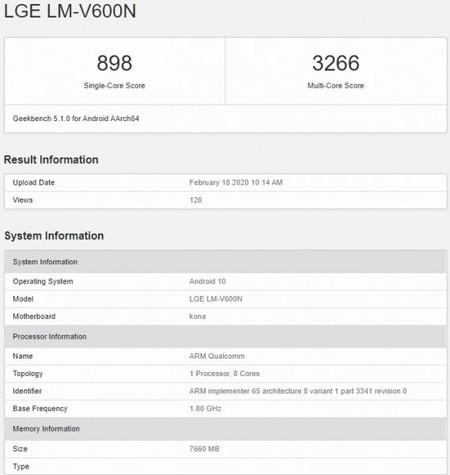Los datos de Geekbench filtrados del LG V60 ThinQ 5G