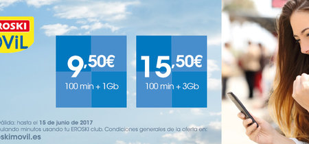 Eroski Móvil lanza nuevas tarifas con 100 minutos y 1 o 3 GB a precios competitivos