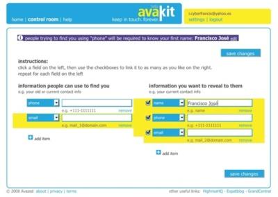 Avakit, ofreciendo nuestros datos de contacto partiendo de otros datos