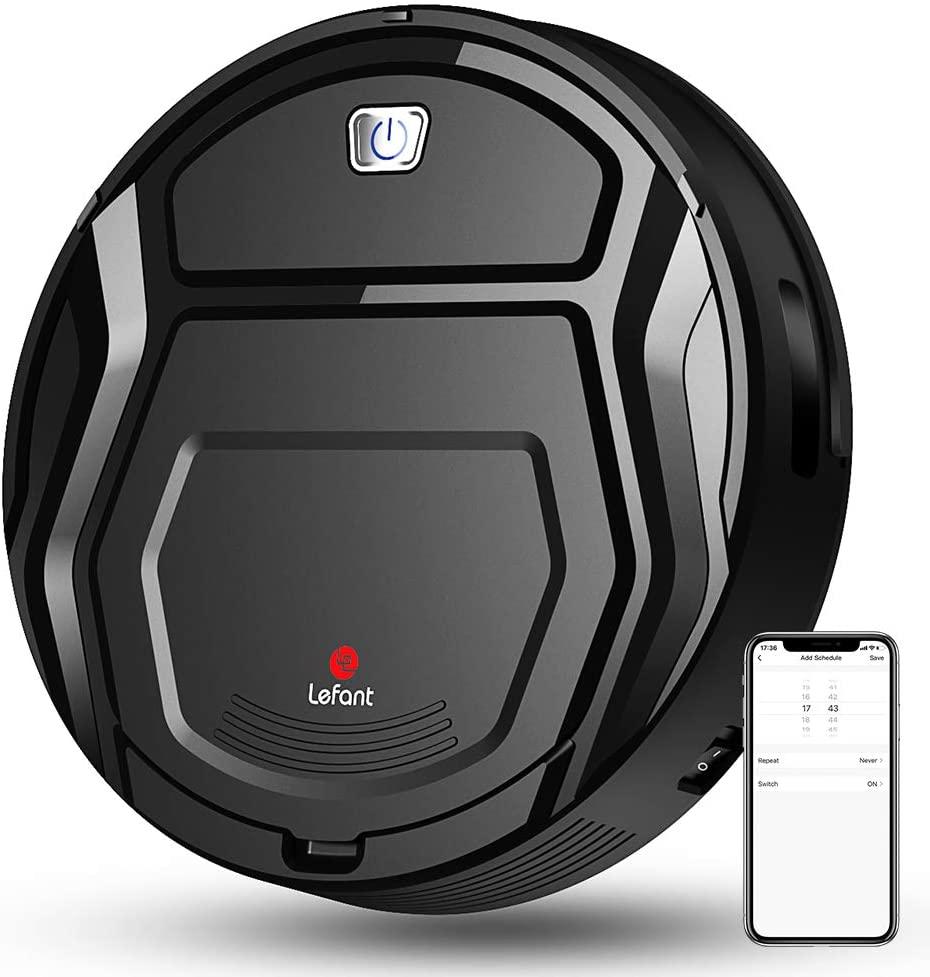 LEFANT Robot Aspirador 1800Pa con Robots Apiradors de 500 ml, con tecnología Sensor de colisión 6D Mejorado,Ideal para Pelo de Animales, alfombras y Suelos Duros,WiFi/Alexa/App,Negro,M201