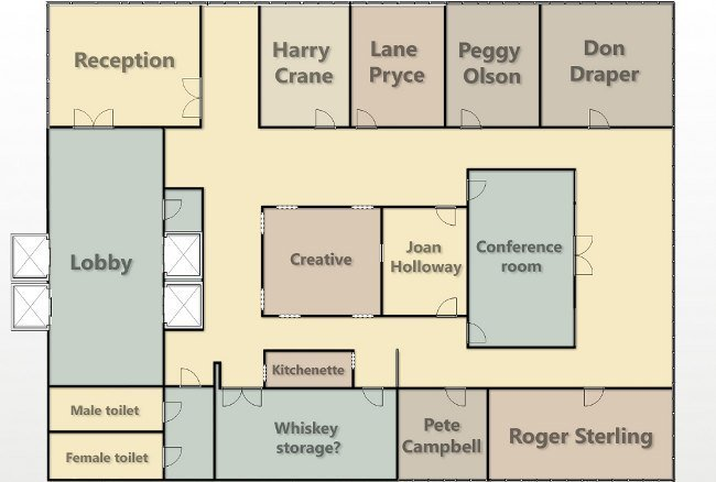 Los planos de las oficinas de 39 mad men 39 la imagen de la for Planos de oficinas
