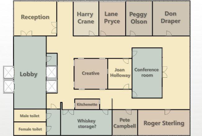 Los planos de las oficinas de 39 mad men 39 la imagen de la for Plano oficina
