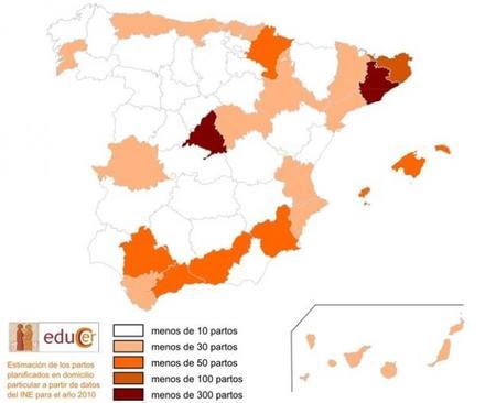 El mapa del parto en casa en España