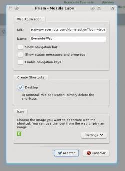 Convirtiendo Evernote Web en aplicación