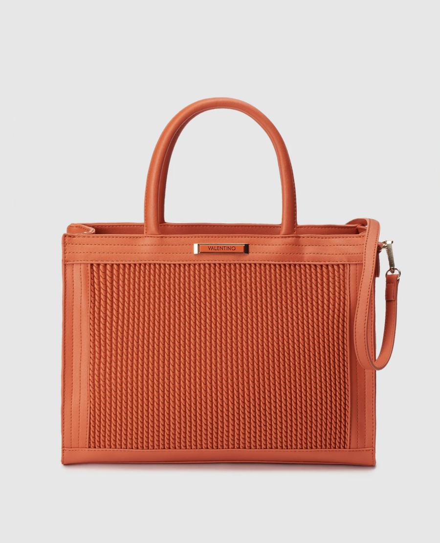 Shopping Valentino en naranja con efecto trenzado