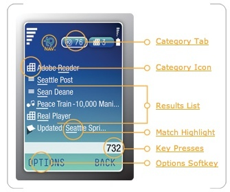 T9 Nav, búsqueda en el móvil