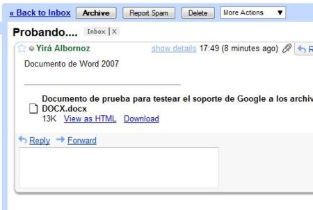 Soporte para documentos OOXML en Gmail y Google Search
