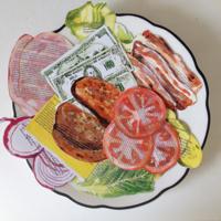 Un CD de música hecho sándwich