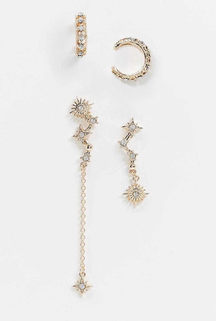 Pack de 4 pendientes individuales con diseño de estrella e ear cuff de cristal en color dorado de ASOS DESIGN