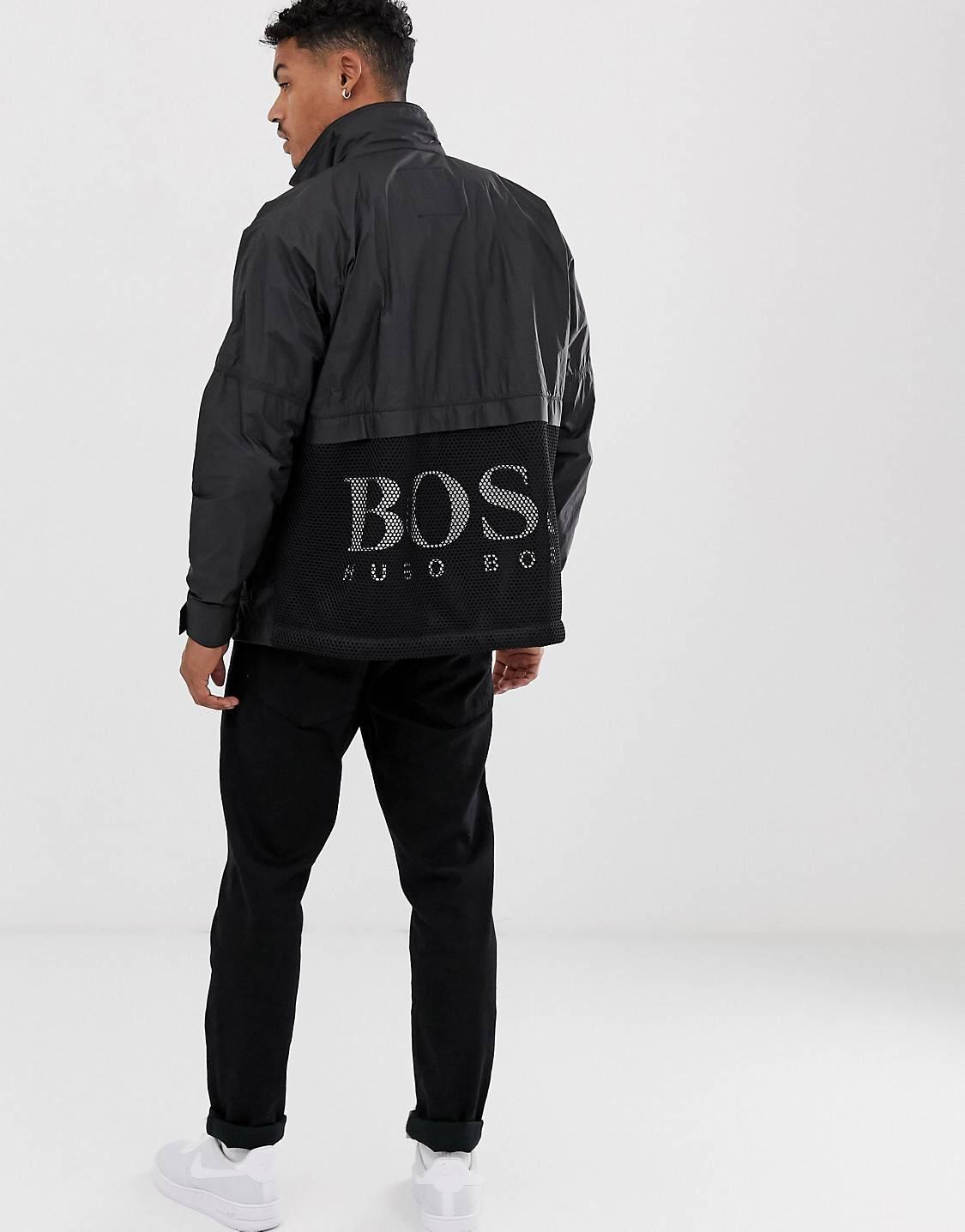 Chaqueta negra ligera de malla con logo en la parte trasera Obaav Tyvek de BOSS