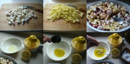 Paso a paso tartar de queso de cabra y manzana