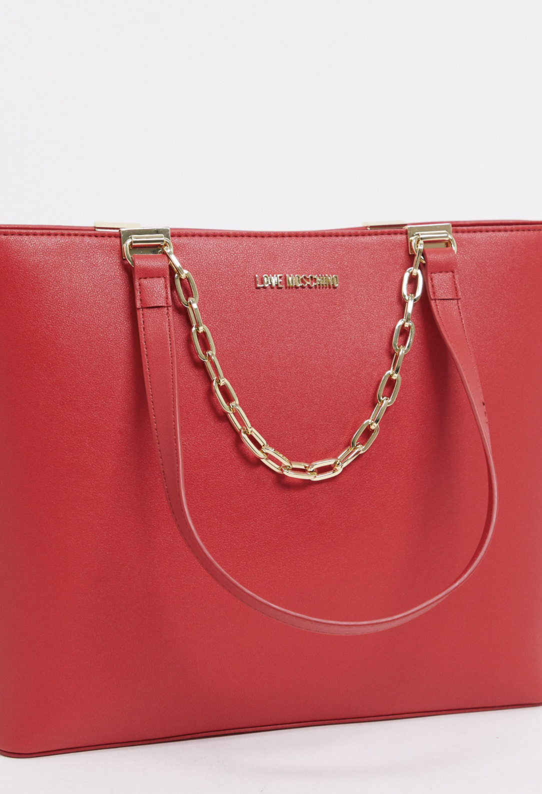 Bolso tote grande rojo con cadena de Love Moschino