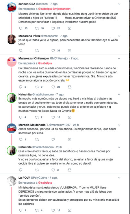 Comentarios realizados ne el twit de la ministra