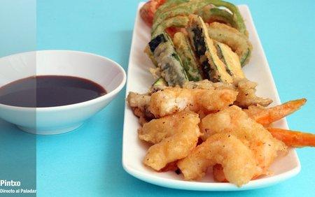 Receta de verduras y gambas en tempura
