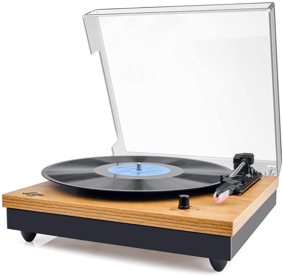 Pasa el ratón por encima de la imagen para ampliarla Tocadiscos, VIFLYKOO Tocadiscos Bluetooth para Discos de Vinilo con 33/45/78 RPM Altavoces estéreos incorporados, con RCA y Line in Montado - Madera Natural