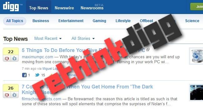 El nuevo Digg está siendo reescrito desde cero y verá la luz el 1 de agosto