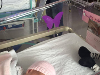 Ten cuidado con lo que dices cuando veas una mariposa lila en la cuna de un bebé