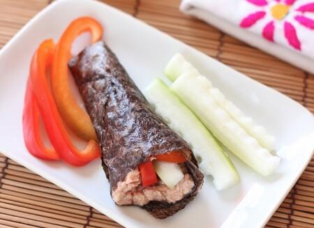 Rollitos de nori con atún y vegetales. Receta