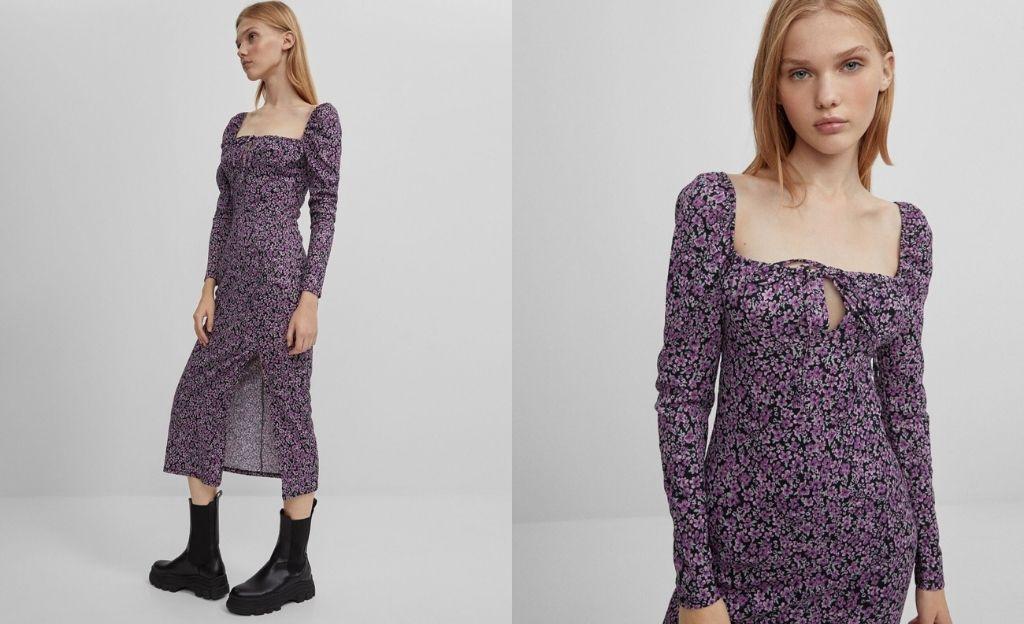 Vestido de flores en tonos morados con abertura en la falda