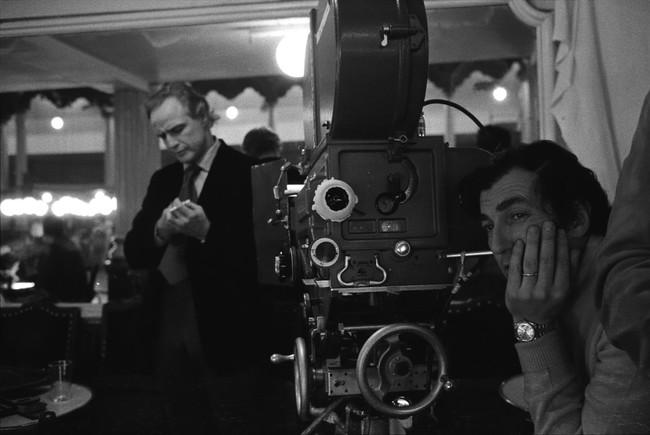 Marlon Brando y Vittorio Storaro en el rodaje de El Último Tango en París