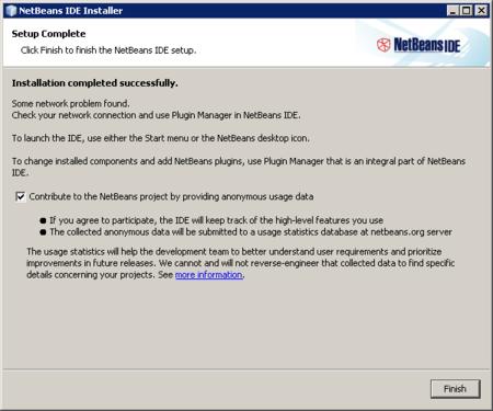 NetBeans - instalación finalizada