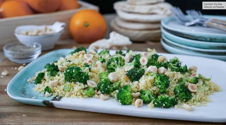 Ensalada de cuscús, brócoli y vinagreta de naranja, receta (con vídeo incluido) lista en menos de 30 minutos