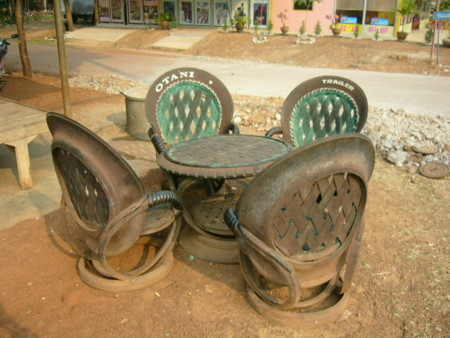 Car Tires As Seats In Thailand 1