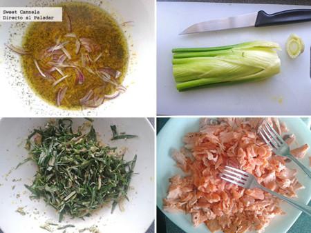 Preparación ensalada de salmón con eneldo