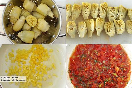 Ensalada de alcachofas con tomate y pimiento. Pasos