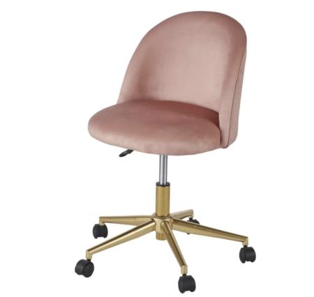 Silla de escritorio vintage con ruedas de terciopelo rosa