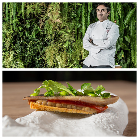 El Chef Jose Carlos Garcia Y Un Plato Del Restauante Cafe De Paris Sardina Ahumada Con Crema De Berenjena C Jose Carlos Garcia