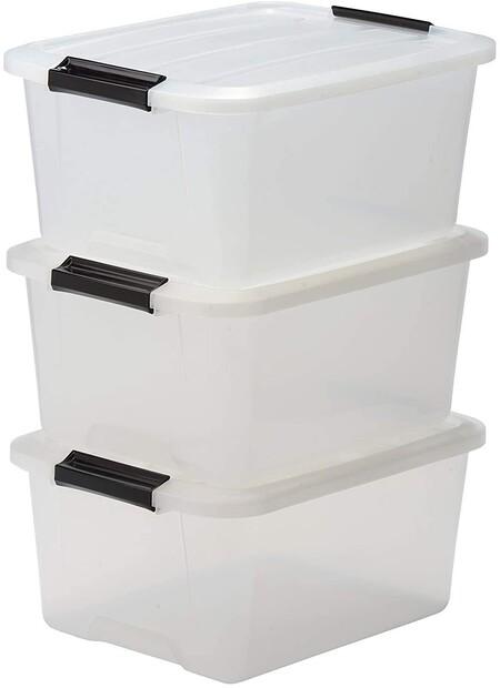 Lote de 3 Cajas apilables de Almacenamiento con Cierre de Clip, Plastico