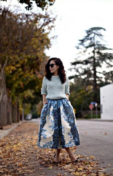 Halliedaily Tibi Floral Full Skirt 1