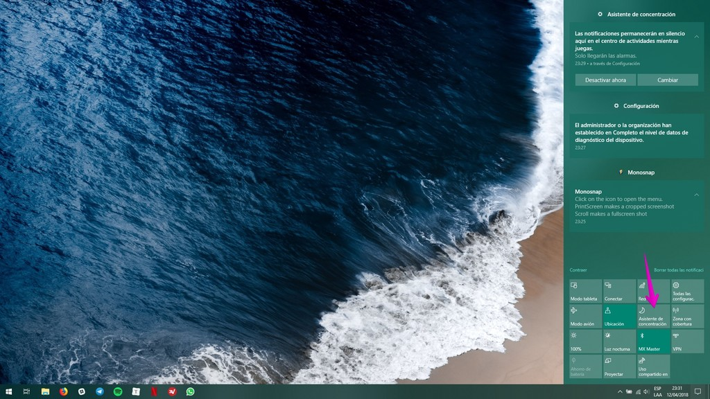 Asistente De Concentracion Windows 10