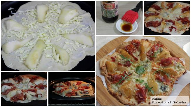 pizza pera gorgonzola y jamón pasos