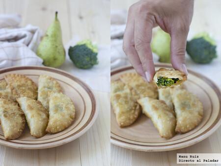 Receta de empanadillas de brócoli, pera y queso azul, un bocado suave, original y sorprendente