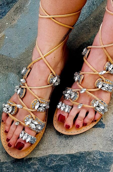 Sandalias Gladiador Boho Cristales 1