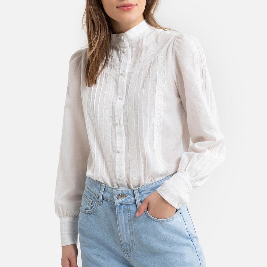 Camisa con cuello alto y manga larga
