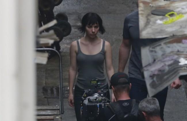 Scarlett Johansson en el rodaje de Ghost In The Shell