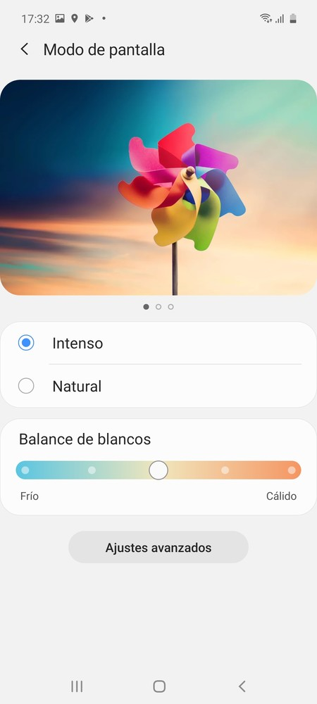 Modos de pantalla Galaxy A71
