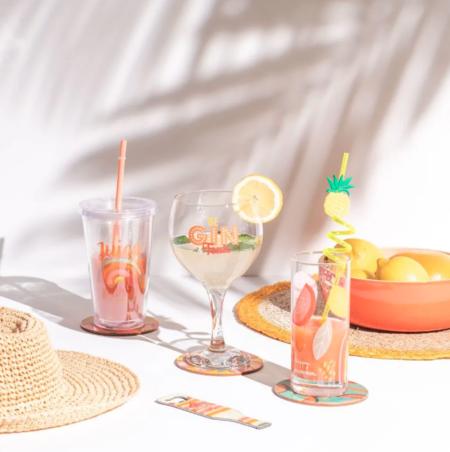 Copa De Gin Tonic De Cristal Con Estampado Naranja