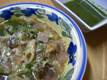 Minestrone de verduras al pesto. Receta